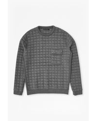 French Connection Gray Joystick Quilted Sweatshirt for men