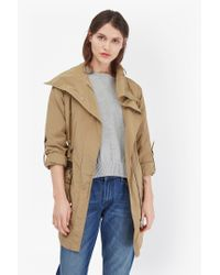 French Connection | Blue Drape Front Collar Coat | Lyst