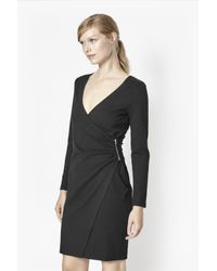 French Connection - Black Lula Stretch-Crepe Wrap Dress  - Lyst