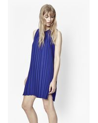 French Connection - Blue Pleated Polly Dress - Lyst