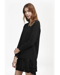 French Connection | Black Tommy Pleated Georgette Sweatshirt Dress | Lyst