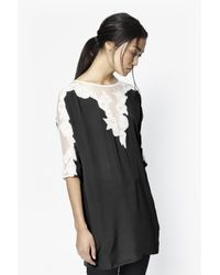 French Connection | Black Isla Embroidered Tunic | Lyst