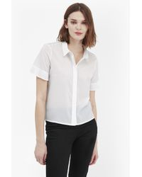French Connection | White Polly Plains Frill Sleeve Shirt | Lyst