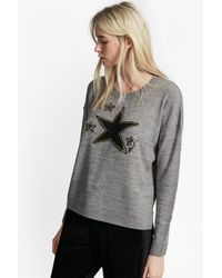 French Connection   Gray Lucky Star Knits Crew Neck Jumper   Lyst