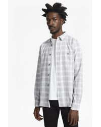 French Connection Gray Lifeline Soft Window Check Shirt for men