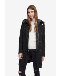 French Connection - Black Detachable Nylon Bib Wool Coat - Lyst