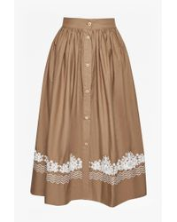 French Connection - Multicolor Rhodea Poplin Embroidered Basque Skirt - Lyst