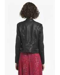 9bfd3ceac French Connection Black Stephanie Faux Leather Waterfall Jacket