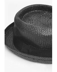 French Connection Black Pork Pie Straw Hat