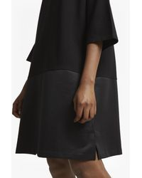 French Connection - Black Inez Jersey 3/4 Sleeves Slash Neck Tunic Dress - Lyst