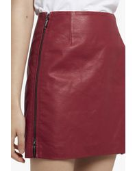 French Connection Red Canterbury Zipped Faux Leather Skirt