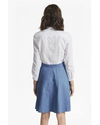 French Connection Blue Hennessy Denim Mix Flared Shirt Dress