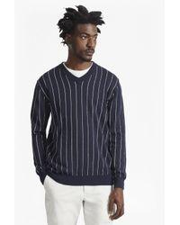 French Connection Blue Dinesh Pinstripe Knitted V Neck Jumper for men