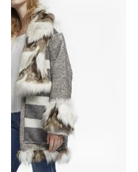 French Connection - Gray Noemi Coating Long Sleeve Fur Trim Coat - Lyst