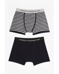 French Connection | Blue Tandem Stripe Mix 2 Pack Boxers for Men | Lyst