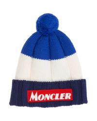 Moncler Blue Tricolour Beanie for men