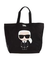 Karl Lagerfeld Black K/ikonik Canvas Tote Bag