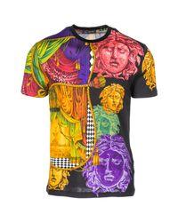 Versace Multicolor Short Sleeve T-shirt Crew Neckline Jumper for men