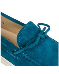 Tod's - Blue Suede Loafers Moccasins Laccetto for Men - Lyst