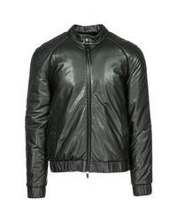 Emporio Armani Black Leather Outerwear Jacket Blouson for men