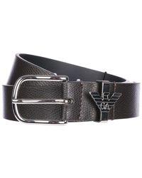 Emporio Armani Black Genuine Leather Belt for men