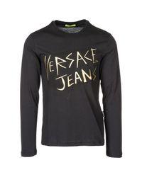 Versace Jeans Black Long Sleeve T-shirt Crew Neckline for men