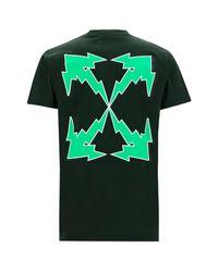 Off-White c/o Virgil Abloh Green Men's Short Sleeve T-shirt Crew Neckline Jumper Bolt Arrow for men
