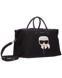 Borsone viaggio borsa tracolla weekend k/ikonik di Karl Lagerfeld in Black