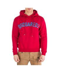 Felpa con cappuccio uomo di DSquared² in Red da Uomo