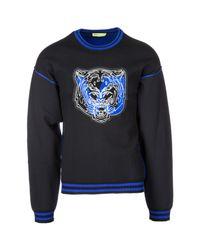 Versace Jeans Black Striped Rib Neck Tiger Sweatshirt for men