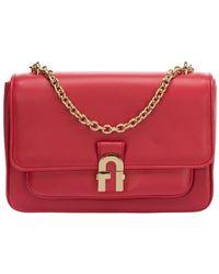Borsa donna a spalla shopping in pelle di Furla in Red