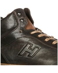 Hogan Brown Shoes High Top Leather Trainers Sneakers H168 Derby Mid Cut for men