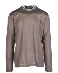 Lanvin Gray Men's Long Sleeve T-shirt Crew Neckline Nuovo Rmje0013e18 Grey for men