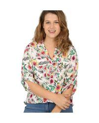 Paprika Multicolor Druckbluse Hemdbluse mit tropischem Print