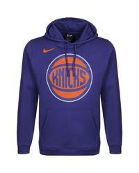 Nike Blue New York Knicks Club Logo Kapuzenpullover