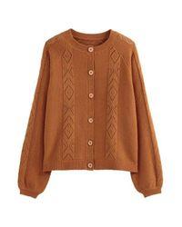 Cardigan boutonné en fine maille fantaisie LA REDOUTE en coloris Brown