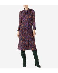 Robe ajustée mi-longue avec col lavallière Pablo en coloris Purple
