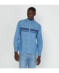 Chemise contemporary droite denim Façonnable pour homme en coloris Blue