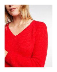 Pull manches longues maille duveteuse Morgan en coloris Red
