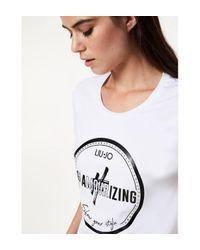 T-shirt avec imprimé et applications Liu Jo en coloris White