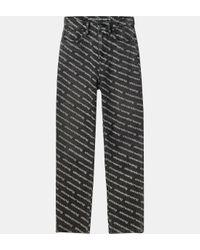 Jean droit coton logotypé T By Alexander Wang en coloris Gray