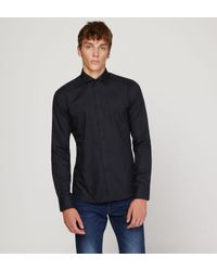 Chemise super slim twill coton noir Bruun & Stengade pour homme en coloris Black