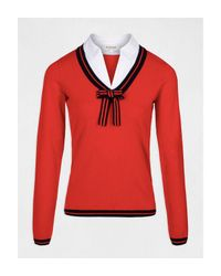 Pull manches longues avec noeud au col Morgan en coloris Red