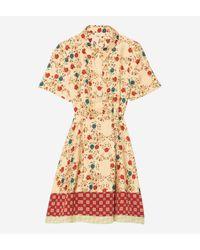Robe chemise soie imprimée Sandro en coloris Multicolor