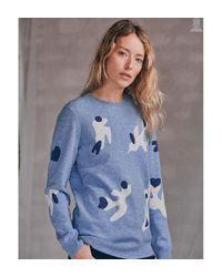 Pull laine et cachemire LOVE BIRD Soi Paris en coloris Blue