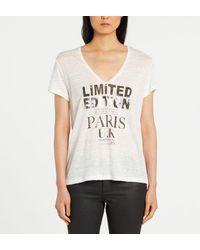 T-shirt droit lin col V message IKKS en coloris White