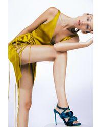Galvan London Yellow Isabella Silk-satin Dress