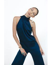 Galvan Blue Tasseled Sash Jumpsuit