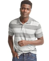 Gap | Gray Rugby Stripe Pique Polo for Men | Lyst
