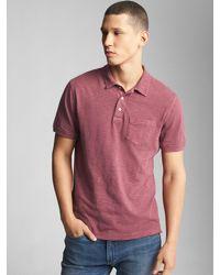 07431af86 Lyst - Gap Slub Jersey Polo Shirt in Red for Men